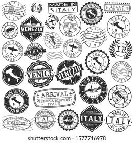 Venice Italy Stamp. Vector Art Postal. Passport Travel Design. Travel and Business Set.