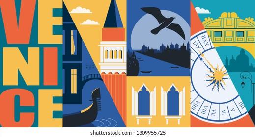 Venice, Italy vector banner, illustration. City skyline, Grand canal, San Marco, historical buildings in modern flat design style. Italian ancient landmarks.