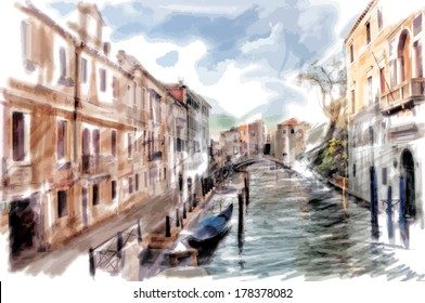 Venice, Italy - watercolor style