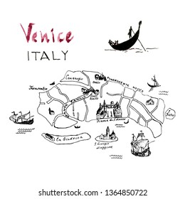 Venice map hand drawn illustration. Floating gondola with gondolier on canal. Black ink pen sketch. City architecture. Freehand contour drawing. Cityscape graphic composition.