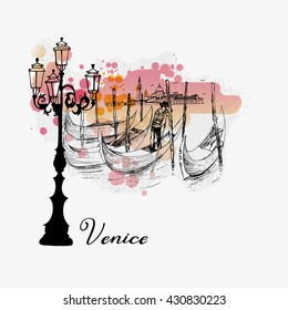 Venice poster. Watercolor vector background of Venice