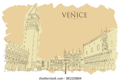Venice - San Marco Square. Vector drawing freehand vintage illustration