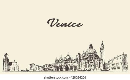 Venice skyline, vintage vector engraved illustration, hand drawn, sketch