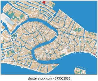 Venice Street Map. Vector illustration.
