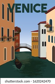 Venice Vector Illustration Background. Traveling at Venice Italy Europe Suitable for Print Art, Poster and Website. Flat Cartoon Vector Illustration in Colored Style.