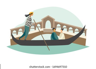 Venice vector illustration. Gondola on Canal Grande. Gandolier and tourist in Italy. Cartoon style card, isolated on white background