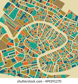 Venice vector map. Colorful vintage design base for travel card, advertising, gift or poster.