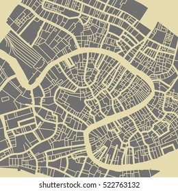 Venice vector map. Monochrome vintage design base for travel card, advertising, gift or poster.