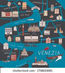Venice Venezia Italy city map hand drawn vector illustrations set