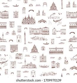 Venice Venezia Italy city map hand drawn seamless line vector pattern