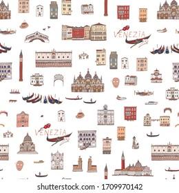 Venice Venezia Italy city map hand drawn seamless line vector color pattern