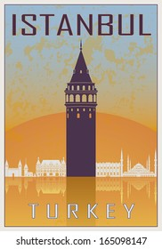 Venice vintage poster in orange and blue textured background with skyline in white