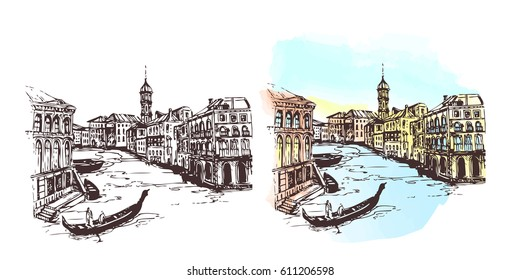 Venice.Italy.Italy with houses and water, drawn in sketch style.Watercolor cityscape.