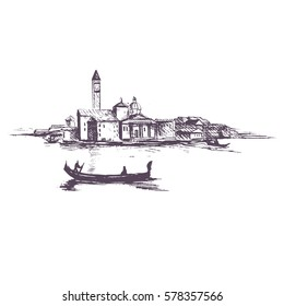 Venice.Italy.Vector illustration of the Grand Canal in Venice, Italy with houses and water, drawn in sketch style.
