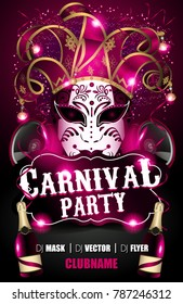 venices carnival masquerade flyer party mardi gras with mask speakers bottles confetti serptentine stars lights