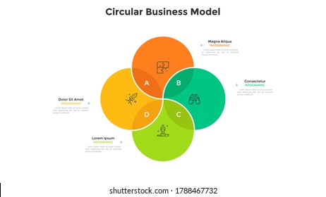 Venn chart with four intersected colorful translucent circular elements. Concept of 4 options of startup project. Modern infographic design template. Minimal flat vector illustration for report.