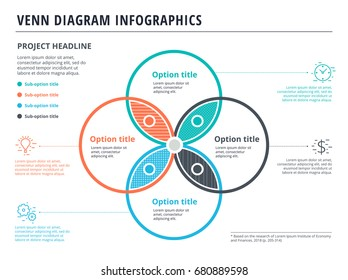 Venn diagram with 4 circles infographics template design. Vector overlapping shapes for set or logic graphic illustration.