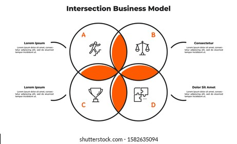 Venn diagram with 4 intersected circular elements. Concept of intersection business model with four circles. Simple infographic design template. Modern flat vector illustration for presentation.