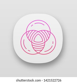 Venn diagram app icon. Primary diagram. Three overlapping closed circles. Symbolic representation of relations. UI/UX user interface. Web or mobile applications. Vector isolated illustrations