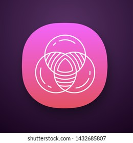 Venn diagram app icon. Primary diagram. Three overlapping closed circles. Symbolic representation of relations. UI/UX user interface. Web or mobile application. Vector isolated illustration