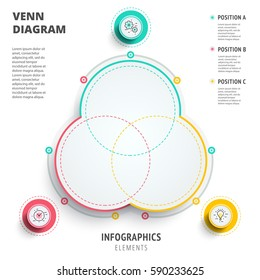 Venn diagram circles infographics template design. 3D vector presentation. Overlapping shapes for logic graphic illustration.