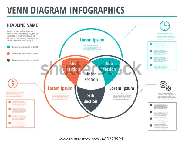 Venn Diagram Circles Infographics Template Design Stock