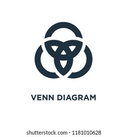 Venn diagram icon. Black filled vector illustration. Venn diagram symbol on white background. Can be used in web and mobile.