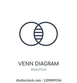 Venn diagram icon. Venn diagram linear symbol design from Analytics collection. Simple outline element vector illustration on white background.