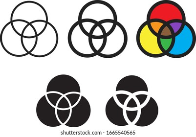 Venn diagram icon, vector illustration