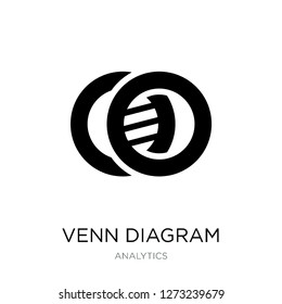 venn diagram icon vector on white background, venn diagram trendy filled icons from Analytics collection, venn diagram simple element illustration