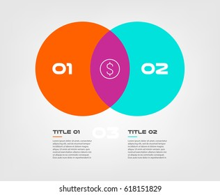 Venn diagram infographics for two circle design vector and marketing can be used for workflow layout, annual report, web design. Business concept with steps or processes