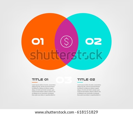 Venn Diagram Infographics Two Circle Design Stock Vector Royalty