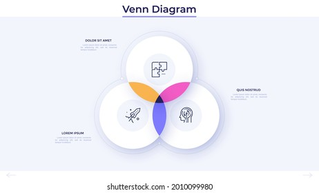 Venn diagram with three intersected circles. Concept of intersection 3 business fields or areas. Simple infographic design template. Modern flat vector illustration for statistical data visualization.