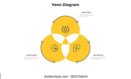 Venn diagram with three intersected round elements. Concept of 3 features of management strategy. Modern infographic design template. Minimal flat vector illustration for business data analysis.