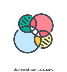 Venn diagrams color line icon. Circle finance chart vector outline colorful sign.