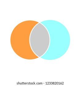 Venn maths vector diagram, color modern icon - white background .