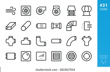 Ventilation isolated icon set. Set of exhaust fan, industrial centrifugal fan, flat air duct, ventilation pipes, vent grille, air filter vector icons
