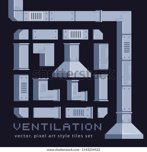 Ventilation System Pixel Art Tile Sprites Stock Vector