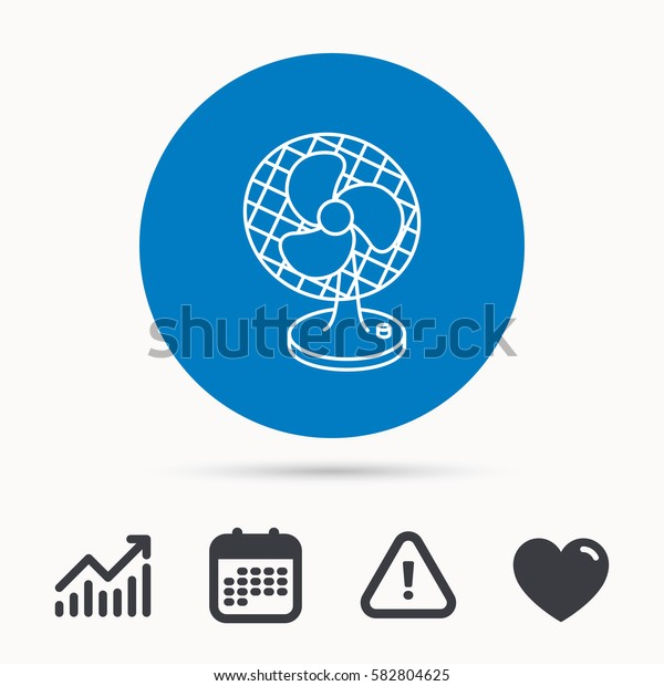 Ventilator icon. Fan or propeller sign. Calendar, attention sign and growth chart. Button with web icon. Vector