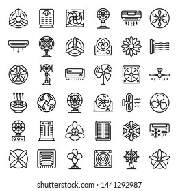 Ventilator icons set. Outline set of ventilator vector icons for web design isolated on white background