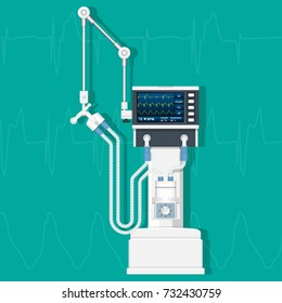 Ventilator Medical Machine Equipment for Tracheotomy Patient Breathing in Operating Room Surgery Hospital Clinical ICU Intensive Care Unit