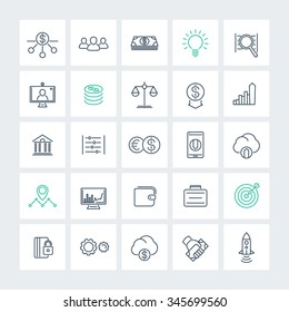Venture capital, investments, startup, growth, line icons pack, vector illustration
