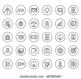Venture capital, investments, start-up, hedge funds, finance line icons on white