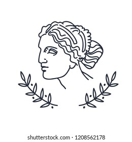 Venus, the ancient Greek goddess of love, vector sketch illustration, isolated on white
