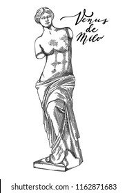 Venus de Milo full length sculpture in the front view. Vector art in engraving technique. Coloring book page design for adults and kids