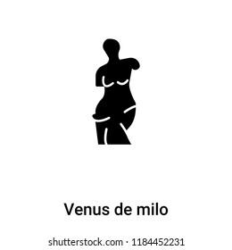 Venus de milo icon vector isolated on white background, logo concept of Venus de milo sign on transparent background, filled black symbol