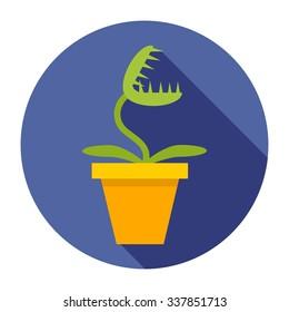 Venus Flytrap in a pot, style flat, decorative element at home