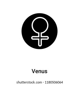 Venus icon vector isolated on white background, logo concept of Venus sign on transparent background, filled black symbol