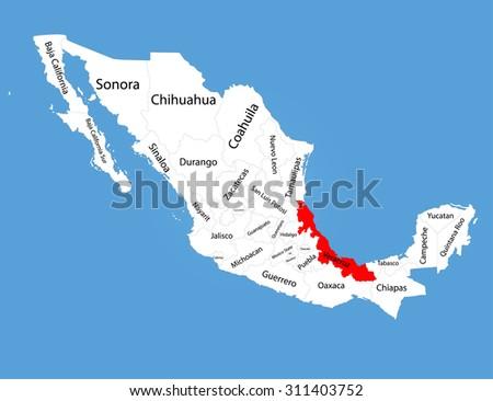 Veracruz Mexico Vector Map Silhouette Isolated Stock Vector Royalty
