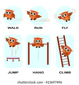 verb word vector background for preschool.verb set (walk run fly jump hang climb).vector illustration.